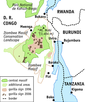 Itombwe Massif Conservation Landscape (© Angela Meder, Adapted from a map by WCS)