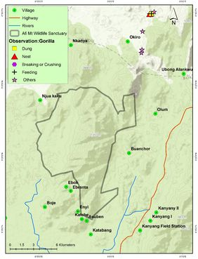 Locations where signs of the gorilla were observed outside the AMWS (© WCS Nigeria)