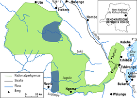 The Kahuzi-Biega National Park with the surveyed areas (dark) (© adapted from maps by Radar Nishuli, ICCN, by Angela Meder)