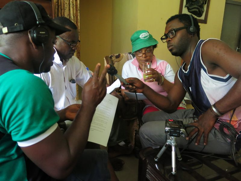 Recording a scene of the drama for My Gorilla - My Community (© WCS Nigeria)