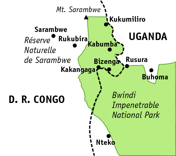 Map of the Sarambwe Reserve with places mentioned in the article (© Angela Meder, adapted from a map by WWF/PeVi)