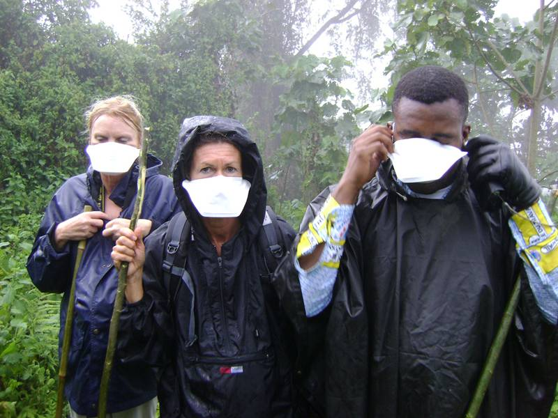Tourists with masks during their gorilla visit on Mikeno (© www.gorilla.cd)