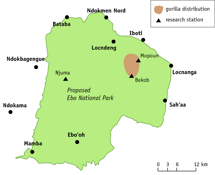Map of the proposed Ebo National Park (© Angela Meder, adapted from a map by Bethan Morgan)