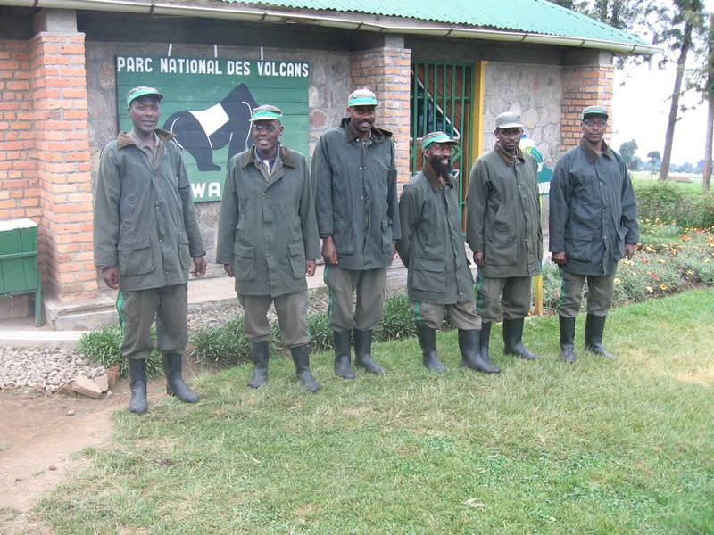 Rangers in Rwanda with rain jackets
